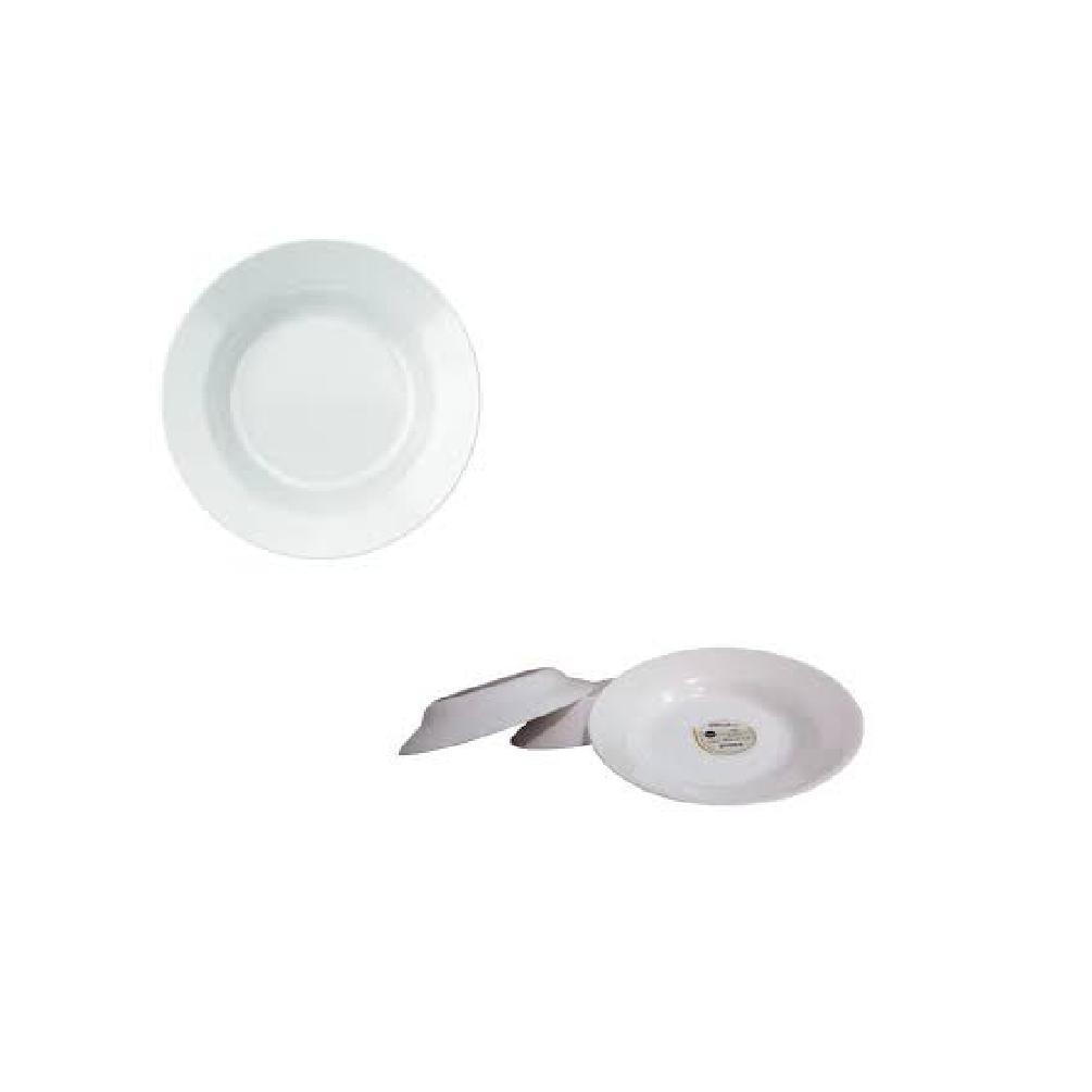 Prato Fundo Branco De Vidro Opaline Versi 23cm Nadir Caixa Com 12 unidades   - LZ COZINHA