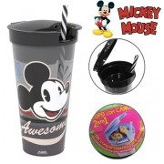 Copo com tampa e canudo de plastico Mickey Vintage 2 em 1 540ml