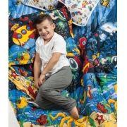 Jogo de Cama Lencol Kids Estampado 2 Pecas + Edredom Modelo Fundo do Mar malha algodao