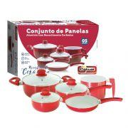 Jogo De Panelas Revestimento Ceramico Vermelho c/ Tampa de Vidro 5 Peças Catuai