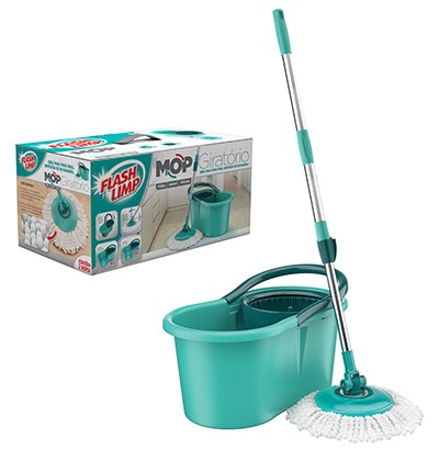 Esfregao Clean Mop Giratorio com 2 Refis + Balde de 12 lts Flash limp