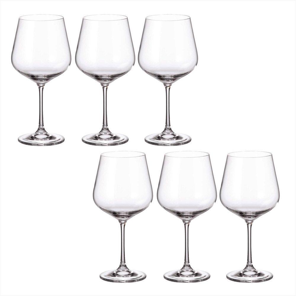 Jogo de 6 Taças de Vinho/Gin Burgundy de Cristal Strix 600ml 3303 - Bohemia