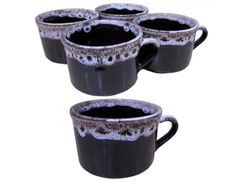 Jogo de Xicara de Chá de Porcelana com Borda Decorada com 4 Pecas 100ML