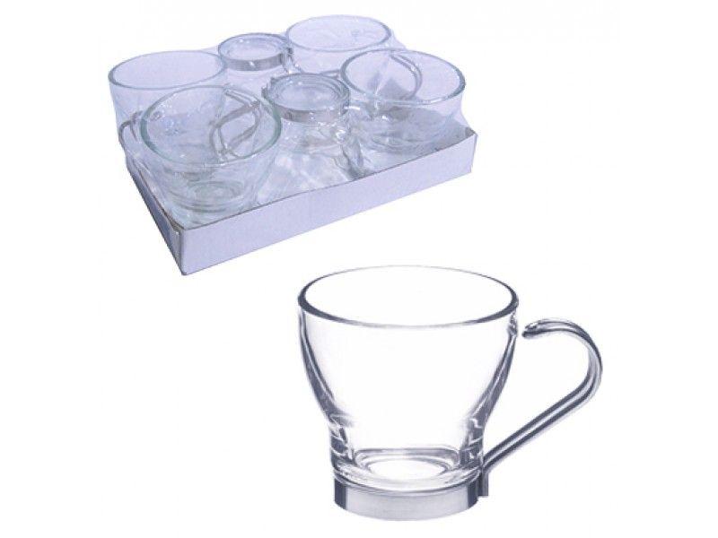 Jogo de Xicara de Vidro Transparente com Alca de Metal 160ml