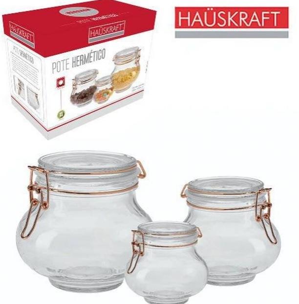 Kit 3 Potes Hermético De Vidro Com Trava Rose Gold Hauskraft