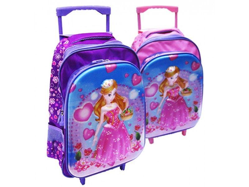 cb9a87013 Mochila Infantil Feminina com Carrinho 3D Princesas 16