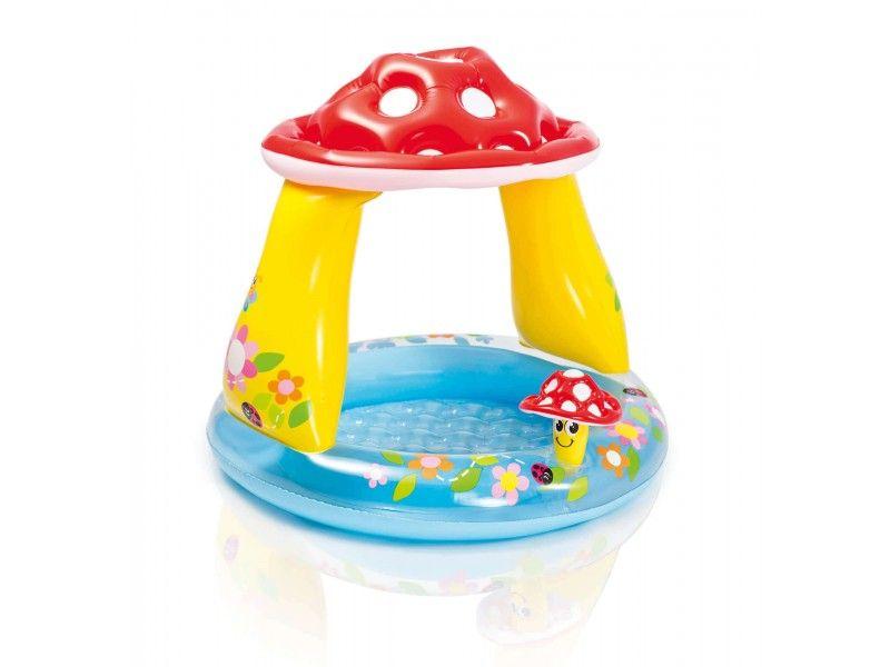 Piscina Inflavel Cogumelo Cobertura 45L Infantil Praia 8018 Intex