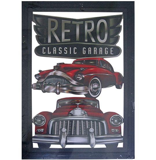 """Quadro Decorativo Vazado de Madeira """"Car Retro"""" 30x45 CM Ecomix"""