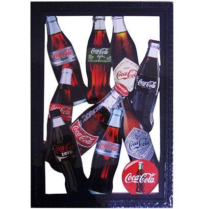 """Quadro Decorativo Vazado de Madeira """"Coca Cola"""" 33x48 CM Ecomix"""