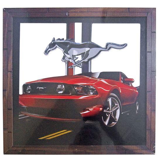 """Quadro Decorativo Vazado de Madeira """"Mustang"""" 30x30 CM Ecomix"""