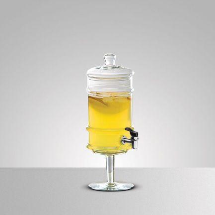 Suqueira de Vidro Transparente Com Pé e Tampa 3,5 Litros - Luvidarte