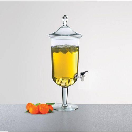 Suqueira de Vidro Transparente Com Pé e Tampa 3,9 Litros - Luvidarte