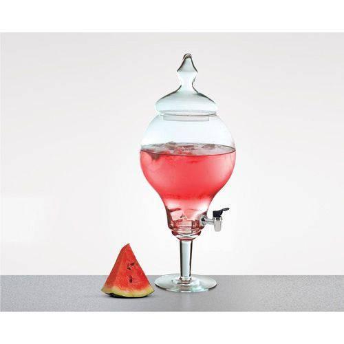 Suqueira de Vidro Transparente com Pé e Tampa 4,5 Litros - Luvidarte