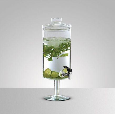Suqueira de Vidro Transparente com Pé e Tampa 6,5 Litros - Luvidarte