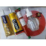 Kit 6 Itens Cola Y7000 Incolor + Cola T7000 Negra + Cola Uv 50 grs + Fita Dupla Face 3M + Fio de Aço + Removedor Cola Spray