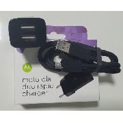 Carregador Celular Motorola® Turbo Duo Original Micro Usb Duplo + Cabo Micro Usb 1 Metro