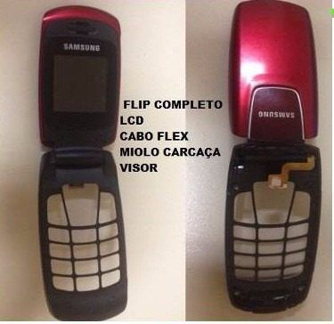 Flip Completo com Lcd Display + Flex e Gabinete frontal Celular Samsung Sgh C276