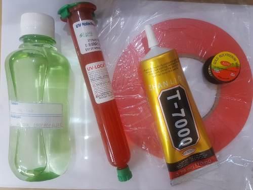 Kit 6 itens Isopropílico + Cola Uv + Fita  Dupla Face +  Fio de  Aço +  Removedor de cola + Cola T7000 110ml Negra