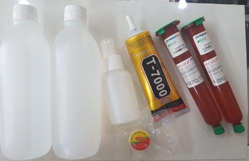 Kit 6 itens Cola T7000 Negra + 2 Colas Uv + Rolo de Fio Aço + Removedor de cola  + Isopropílico 1Lt