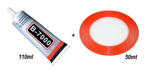 Kit Cola Celular Vidro Touch B7000 T7000 110ml + Rolo de  Fita Dupla Face 3mm x 50 Mts