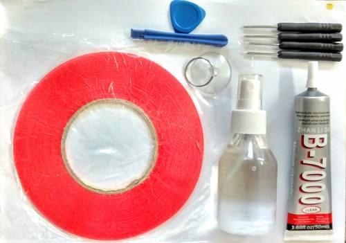 Kit Removedor Cola 100ml + Cola B7000 15ml Incolor + Fita Dupla Face 3mm 50Mt  + Kit de Chaves