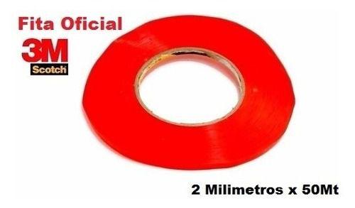 Kit com 2 Rolos de Fita Dupla Face 1 Rolo 3mm + 1 Rolo 2mm X50mts