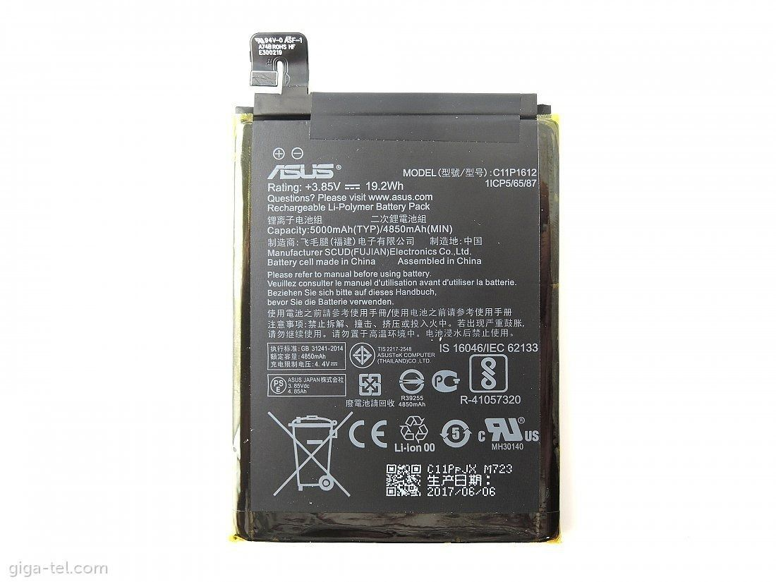 Bateria Asus C11P1612 Zenfone 3 Ze553kl / Zenfone 4 Max Zc554k Original 4850MAh