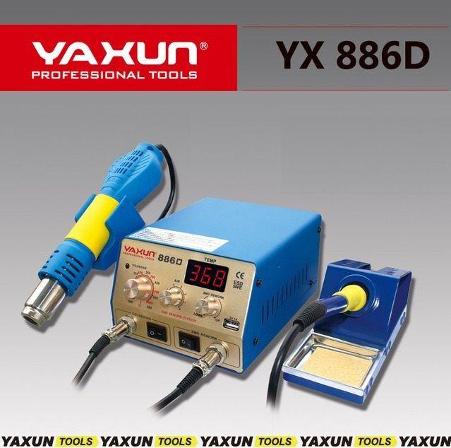 Estação 2 em 1 de Ar Quente Retrabalho Yaxun YX 886D Compacta Com Ferro de solda de alta precisão.