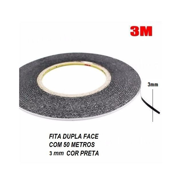 Fita Dupla Face Marca Scoot 3M Preto 3 mm x 50 mts- Original