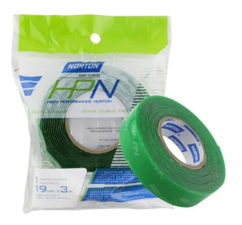 Fita Dupla Face Verde 1mm x 12mm x 3mt Norton Multiuso Espelhos, Acrílicos Adesivo ultra forte