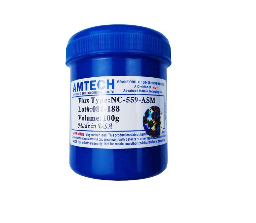Fluxo de Solda em pasta Amtech NC-559 Azul Profissional Pote 100 Gr