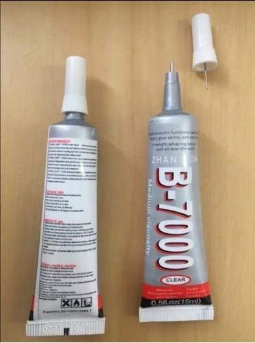 Kit 2 Colas B7000 Incolor 15ml + Rolo de Fita Dupla Face 3m Rolo 50mt 2mm Multiuso