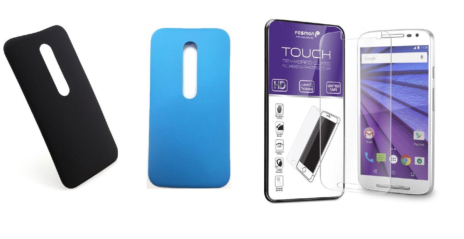 Kit 2 Tampas Traseiras Celular Moto G3 Xt1543 Xt1544 1 Preta 1 Azul  + Película de vidro