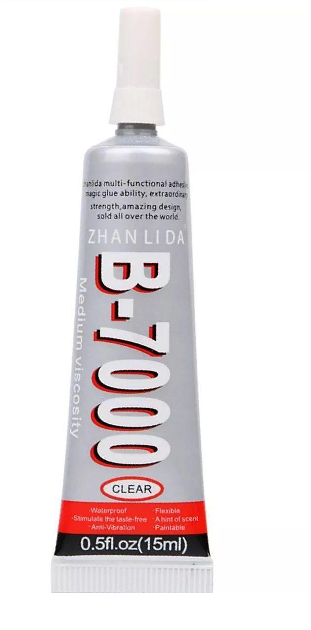 Kit com 2 Colas B7000 15ml Dupla Face Líq. Celular Touch Bijuterias com bico aplicador 2x1