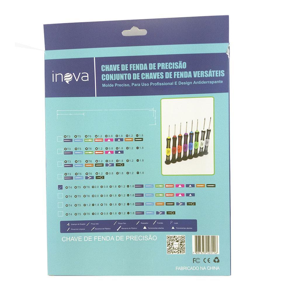 Kit de Chaves de precisão para Celulares, Tablets e Eletrônicos Inova SCR-7193 ( Philips, Fenda, Espátulas, Pinças 16x1 )