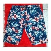 Bermuda Masculina Sarja Estampada Floral Com Bolso