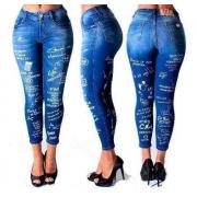 Calça Feminina Jeans Capre Canal Da Mancha Escritas Detalhes