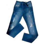 Calça Jeans Masculina Skinny Rasgada Cofin Rock