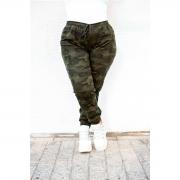 Calça Feminina Jogger Plus Size Camuflada