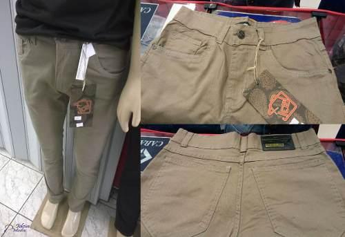 Calça Jeans Masculina Skinny Bege Caqui Marrom