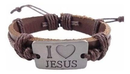 Pulseiras De Couro Sintetico Eu Amo Jesus Unissex