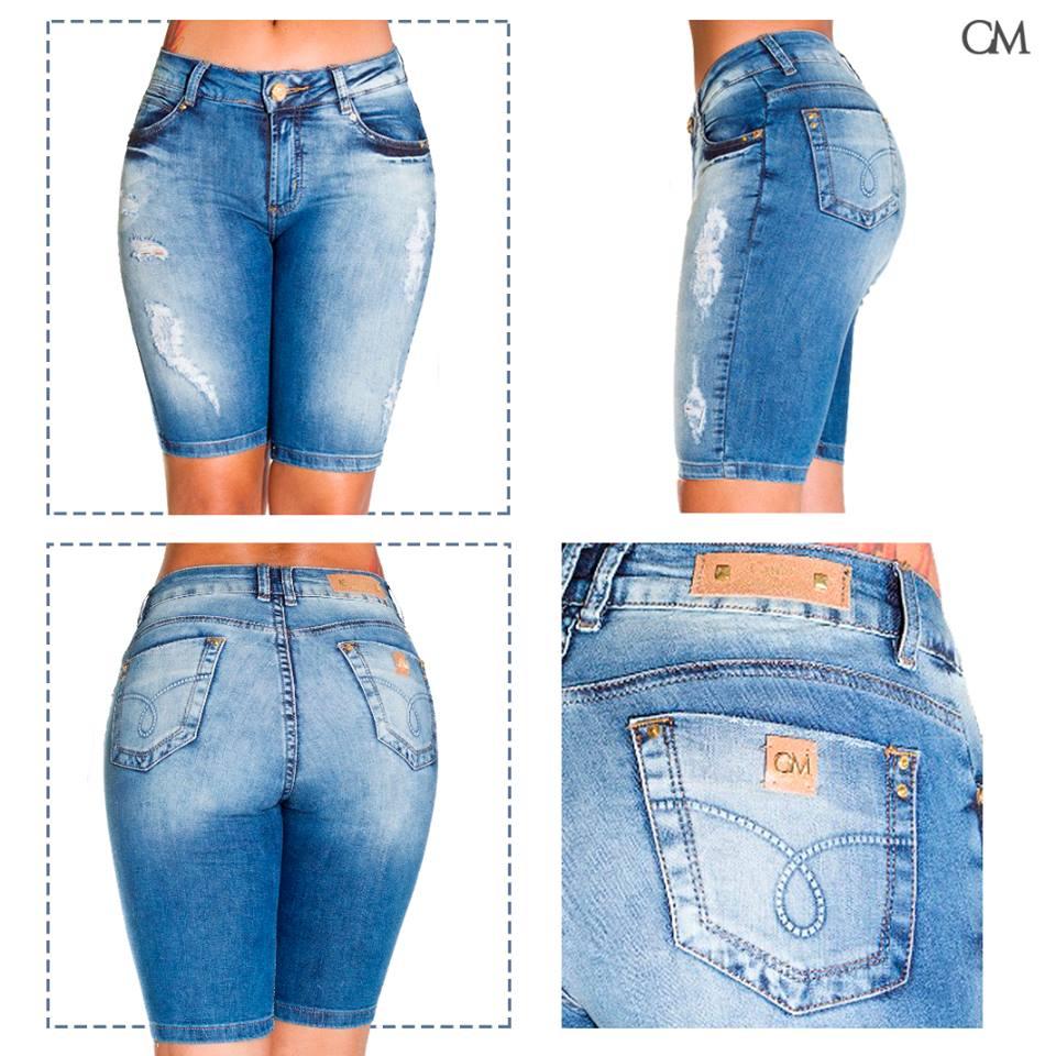 Bermuda Shorts Feminino Jeans Canal da Mancha laycra