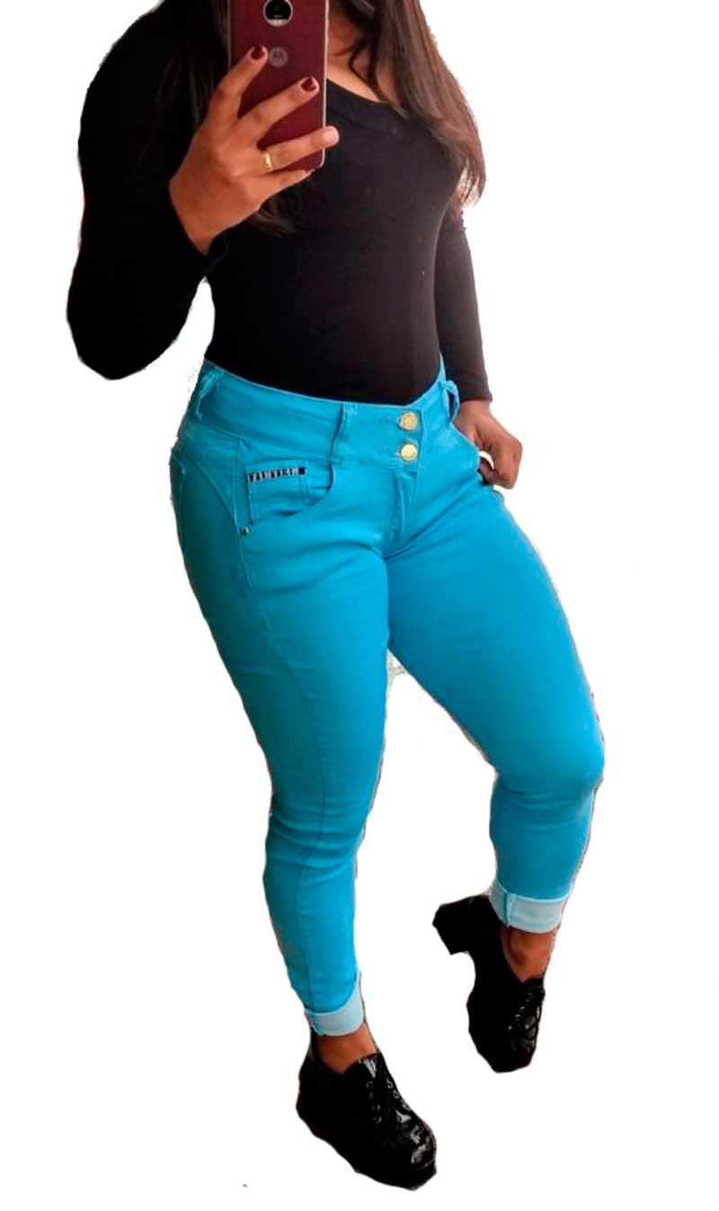 calça jeans feminina skinny cintura media meitrix