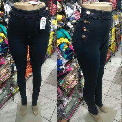 Calça Jeans Skinny Feminina Naraka Hot Pants 8 Botoes laterais