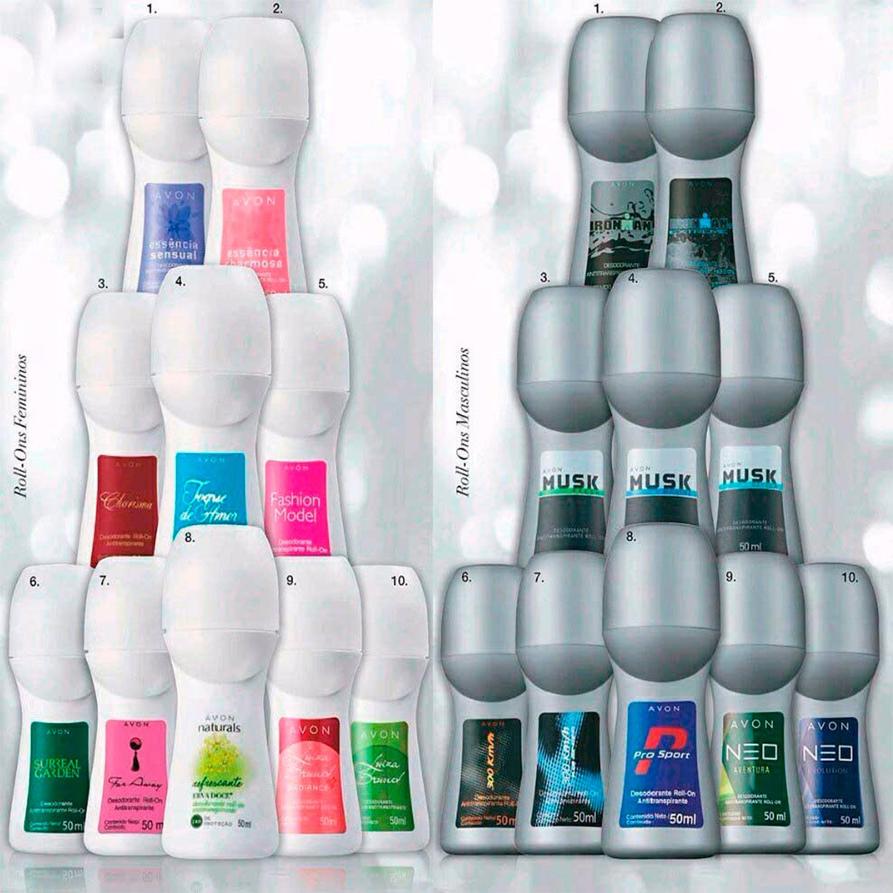 Desodorante Roll-on Avon 50ml 10 unidades