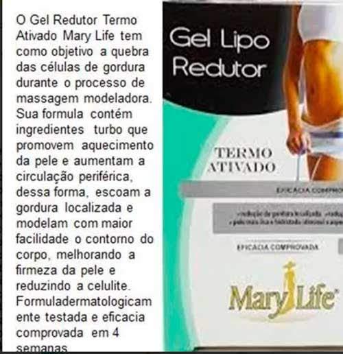 Gel Lipo Redutor Combate a celulite 2 unidades Pote 250g Mary Life