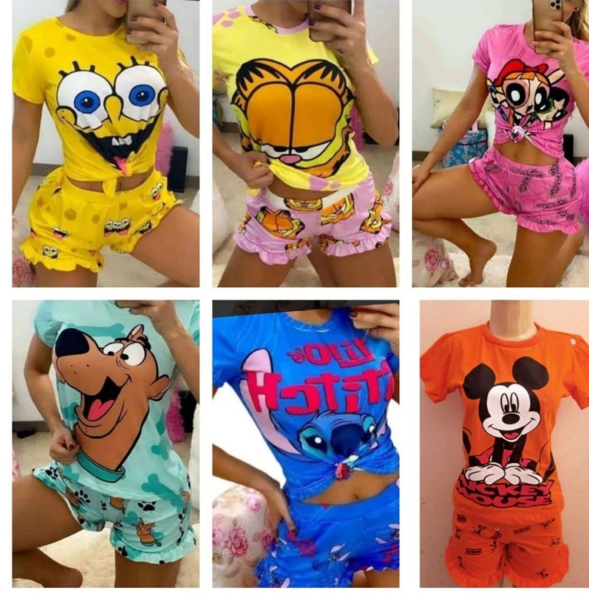 Pijama Babydoll Feminino Personagens Blogueira Shotsdoll