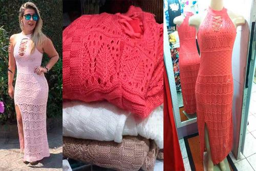 Vestido Tricot Tricô Feminino Longo Blogueira Decote