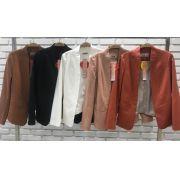 Blazer Fianco Coton  (97% Algodão 3% Elastano )Longo Cores Rose, Preto, Cognac e Off - (FORRO)