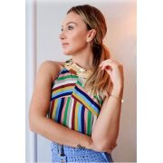 Blusa Alana Crepe Colors Listras (Não Acompanha colar)